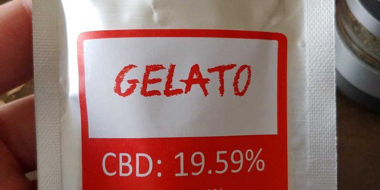 Opakowanie strunowe z czerwoną etykietą, z napisem Gelato, CBD 19%